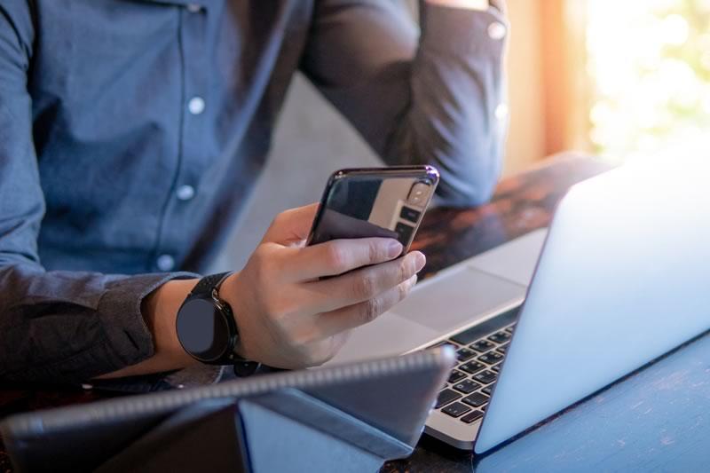 Man doing Online Banking